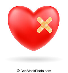 red heart with bandage on white background