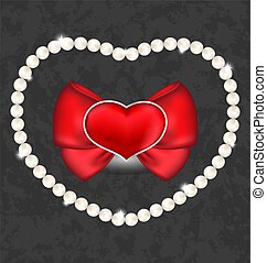 Red heart with bow and pearls for Valentine Day