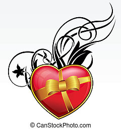 Red heart with bow and ribbon
