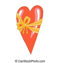 Red heart with bow for medical design. Celebration banner