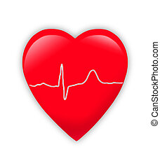 red heart with cardiogram isolated on white