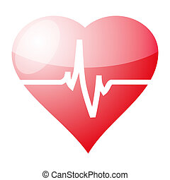 Red heart with cardiogram isolated on white background, vector