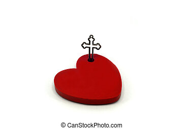 Red Heart with cross