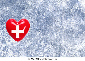 Red heart with cross sign on grunge texture background