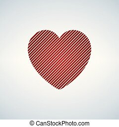 red heart with diagonal stripes, vector illustration isolated on white background.
