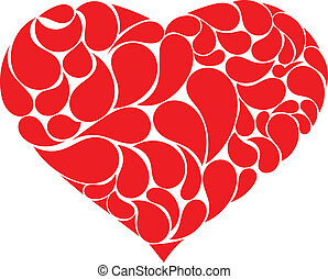 Red heart with drops