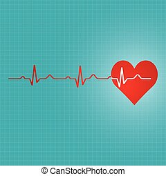Red heart with ekg  - medical design.