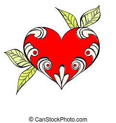 Red heart with floral element