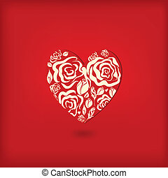 Red heart with floral ornament.