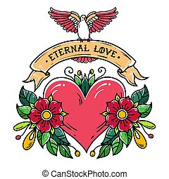 Red heart with flowers, ribbon and white dove. Eternal Love. Old school tattoo.