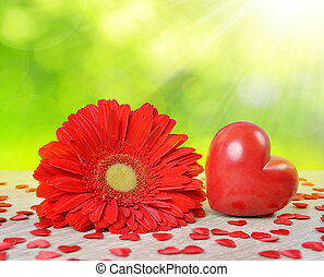 Red heart with gerbera flower on table. Valentines day...