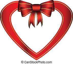 Red heart with gift bow, vector ill