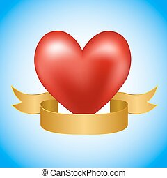Red heart with golden ribbon on blue background. vector