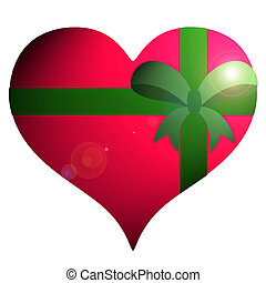 Red heart with green ribbon on white background.