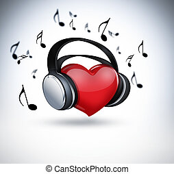 music lover - red heart with headphones - concept of music...