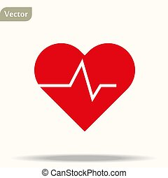 Red Heart with heartbeat line. Vector icon or logo design ...