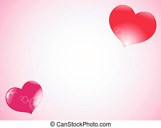 red heart with highlights on pink background