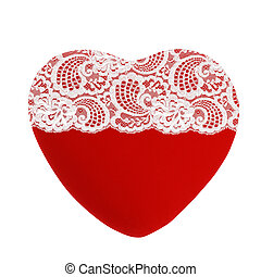 Red heart with lace isolated on white