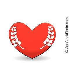 Red heart with leaf