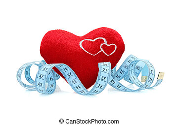 red heart with measure tape