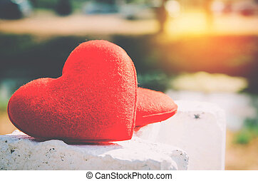 red heart with nature blurred background