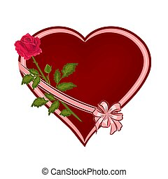 Red heart with one rose