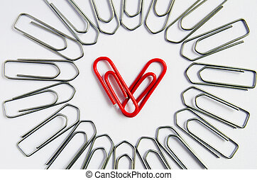 Red heart with paper clip