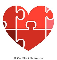 Red heart with puzzle