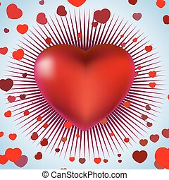 Red heart with rays on blue light. EPS 8