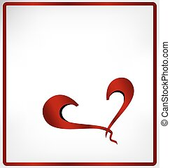 Red heart with red frame isolated on white