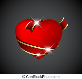 Red heart with red ribbon