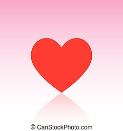 Red heart with reflect