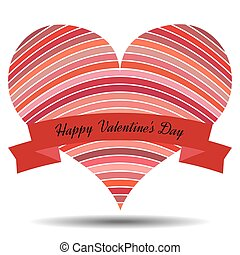 Red heart with ribbon and shadow on a white background.