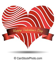 Red heart with ribbon and shadow on a white background. Symbol of love.