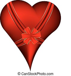 Red heart with ribbon