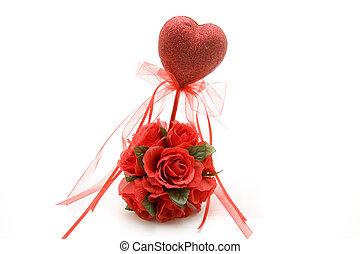 Red heart with rose flower arrangem