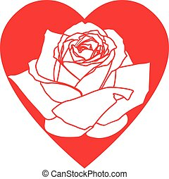 Red heart with rose isolated on white. Icon Valentines Day