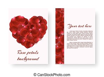 Red heart with rose petals