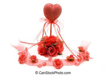 Red heart with rose tape