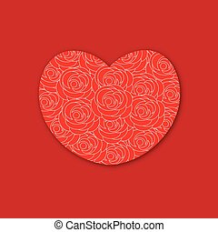 Red heart with roses