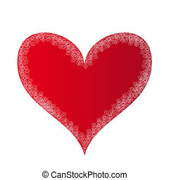 Red heart with silver lace