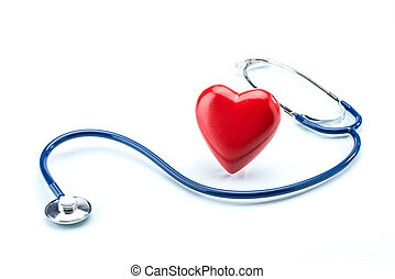 Red heart with stethoscope isolated on white background