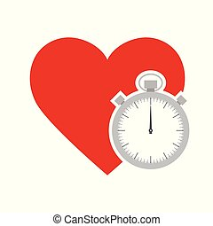 Red heart with stopwatch