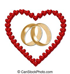 heart with wedding bands - red heart with wedding bands