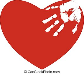 Red heart with white hand print