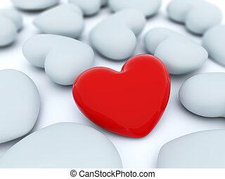 Red heart with white hearts