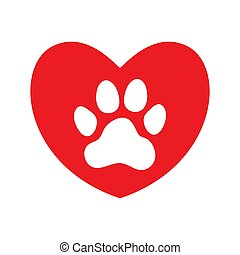 Red heart with white paw print.