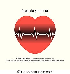 Red heart with white pulse and original dark lines. Vector illustration of a healthy heart with space for text, flat style.
