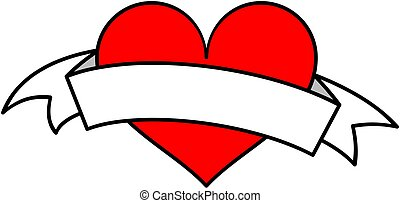 Red heart with white ribbon clipart. Vector illustration.