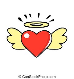 Red heart with wings and halo, vector comic illustration in pop art retro style